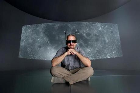 Wearing 3D glasses, Brown University Computer Science Professor David Laidlaw poses for a portrait inside the new Yurt virtual reality space on the university's campus in Providence, Rhode Island, Thursday, May 28th, 2015. (Gretchen Ertl for The Boston Globe)